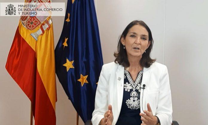 Dª Reyes Maroto, Ministra de Industria, Comercio y Turismo durante su discurso en los Premios InnovaCción 2020.